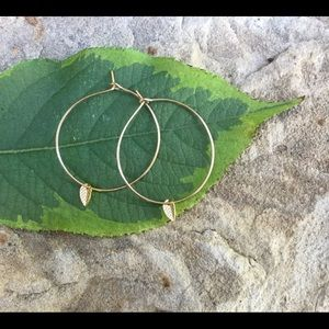 Dainty Gold Hoops with Tiny Leaf Charm